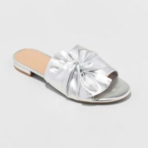 A NEW DAY metallic silver knotted slip on sandals